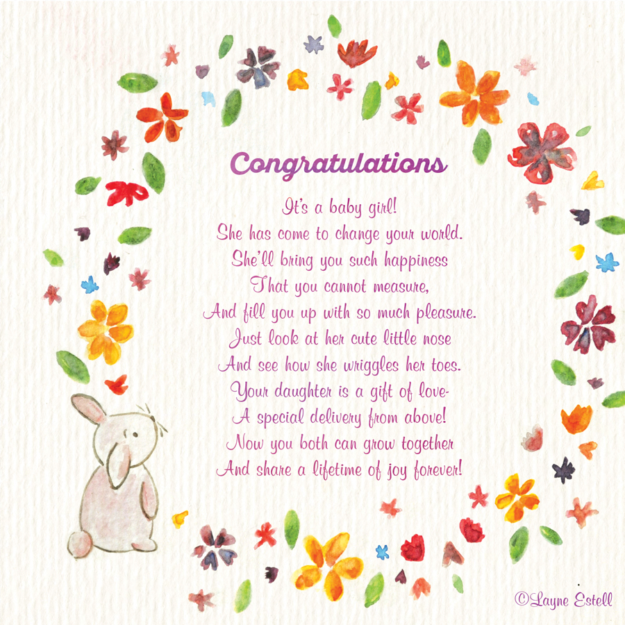 congratulations it s a baby girl seasonal words with layne estell